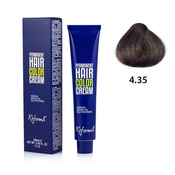 Hair Color Cream  4.35 - golden mahogany brown, 100 ml